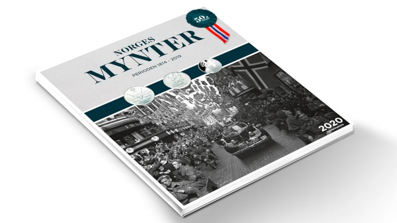 Norges Mynters myntkatalog 2020 har bilde av frigjøringen og frigjøringsmyntene på forsiden.